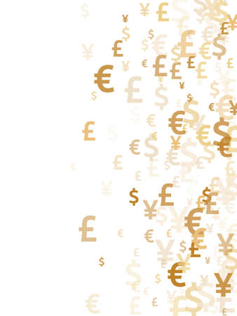 Euro dollar pound yen gold symbols scatter currency vector design. Investment backdrop. Currency symbols british, japanese, european, american money exchange elements background.