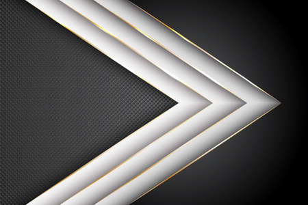 Polygonal arrow with gold triangle edge lines banner vector design. Chic business background template. Multi layers paper cut material design. Blank banner layout design. Ilustracja