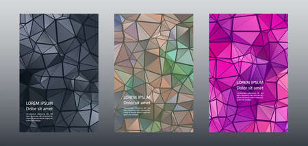 Triangles puzzle geometric cover page mockups vector set. Abstract brochure front pages. Triangles puzzle business booklets graphic design. Industrial digital backgrounds. Geometric covers.