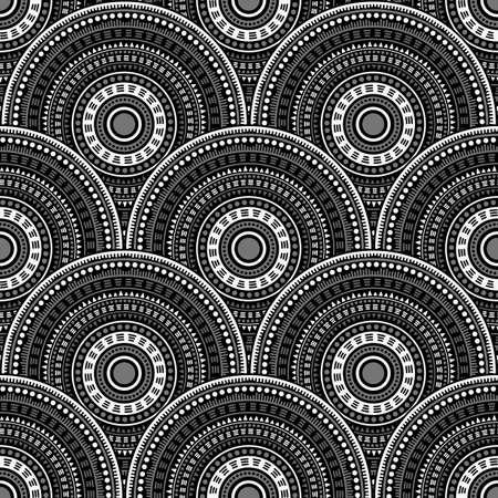 Gypsy fish scale carpet design vector seamless pattern. Folk motifs colorful line art geometry. Romanian ethnic circle mandala elements seamless geometric pattern. Ilustracja