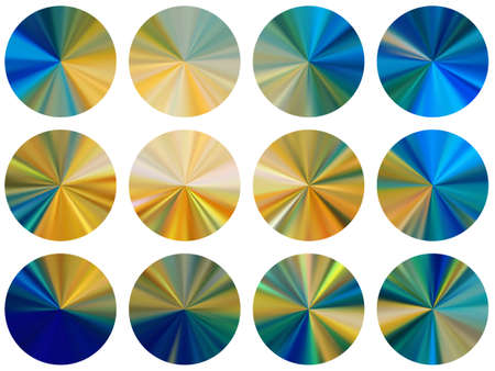 circular metallic gradient disk elements vector set. Polished vibrant medal shapes. Button metal gradient texture backgrounds. Label backgrounds graphic design.
