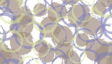 Unique hand drawn circles geometry fabric print. Circular spot overlapping elements vector seamless pattern. Brush stroke circles geometry fabric print. Ilustracja