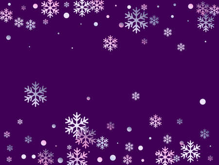 Winter snowflakes and circles border vector design. Unusual gradient snow flakes isolated card background. New Year card border holiday pattern with trendy snowflake shapes isolated.