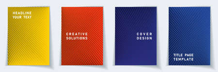 Cover page modern layout vector design set. Crossed lines texture background patterns. Brochure templates.  Educational gradient title page graphic collectoin. Ilustracja