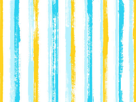 Watercolor handdrawn rough stripes vector seamless pattern. Elegant swimwear marine design. Old style texture rough stripes, lines background swatch. Repeatable backdrop. Ilustracja
