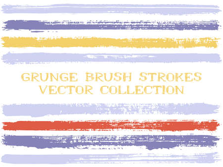 Long ink brush strokes isolated design elements. Set of paint lines. Artistic stripes, textured paintbrush stroke shapes. Collection of ink brushes, stripes isolated on white, vector paint samples.