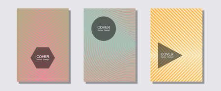 Cool flyers set, vector halftone poster backgrounds. Music placards. Halftone lines music poster background. Future mockups samples. Geometric lines shapes patterns set for flyer design.