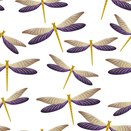 Dragonfly modern seamless pattern. Repeating clothes fabric print with flying adder insects. Garden water dragonfly vector illustration. Nature organisms seamless. Damselfly butterflies. Ilustracja