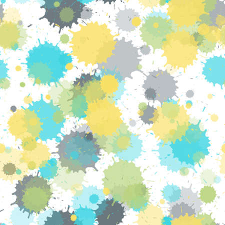 Paint transparent stains vector seamless grunge background. Graphic ink splatter, spray blots, mud spot elements seamless. Watercolor paint splashes pattern, smear fluid splats.