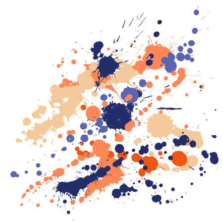 Watercolor stains grunge background vector. Rusty ink splatter, spray blots, dirty spot elements, wall graffiti. Watercolor paint splashes pattern, smear liquid stains splatter backdrop. Ilustracja