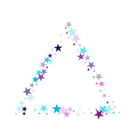 Flying stars confetti holiday vector in cyan blue violet on white. Christmas banner decoration. Party stars pattern graphic design. New year festive sparkles design.