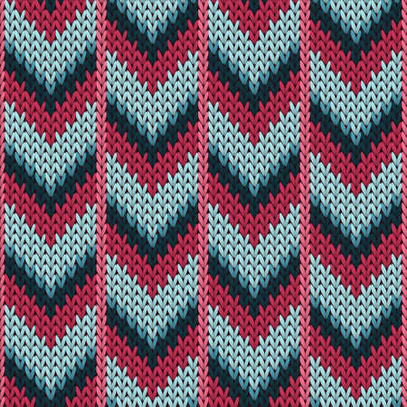 Closeup downward arrow lines knitting texture geometric seamless pattern. Pullover knit tricot  fabric print. Traditional seamless knitted pattern. Winter holidays wallpaper.