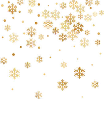 Crystal snowflake and circle elements vector graphics. Chaotic winter snow confetti scatter banner background. Flying colorful gradient snow flakes background, cute water crystals vector. Ilustracja