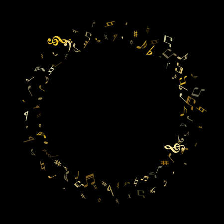 Gold flying musical notes isolated on black backdrop. Fresh musical notation symphony signs, notes for sound and tune music. Vector symbols for melody recording, prints and back layers.