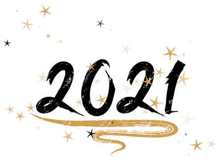 2021 New Year calligraphy holiday banner festive design with gold star sparkles. Black handwritten lettering beautiful font. 2021 New Year party invitation card template with calligraphic text.