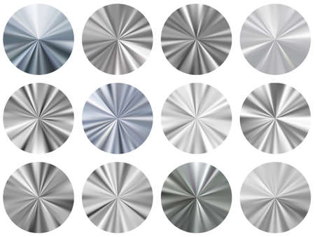 Silver circle metallic gradient disk elements vector set. Polished decorative medal shapes. Button metal gradient texture backgrounds. Label backgrounds material design.