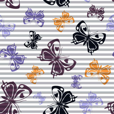 Flying vivid butterfly silhouettes over horizontal stripes vector seamless pattern. Vintage textile print design. Stripes and butterfly garden insect silhouettes seamless illustration.