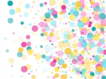 Memphis round confetti festive background in blue, pink and gold on white. Childish pattern vector, children's party birthday celebration background. Holiday confetti circles in memphis style.