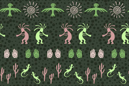 African musician flute player vector ethnic tribal motifs seamless pattern. Traditional design with gecko, Kokopelli fertility god, sun, bird, cacti. African aboriginal textile print.