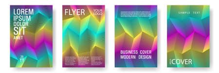 Broken lines gradient report cover templates vector set. Halftone rainbow geometric texture cover page layout templates set. Brochures graphic design, business booklet pages corporate layouts. Ilustracja