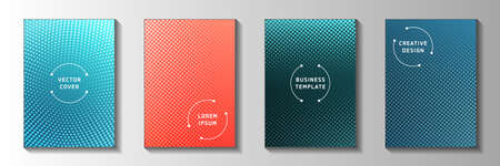 Trendy dot faded screen tone cover page templates vector series. Urban booklet perforated screen tone patterns. Retro manga comics style title page layouts. Gradient design. Ilustracja