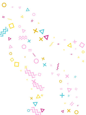 Memphis style geometric confetti vector background with triangle, circle, square shapes, zigzag and wavy line ribbons. Flat 90s style bauhaus magenta blue yellow party confetti flying on white. Ilustracja