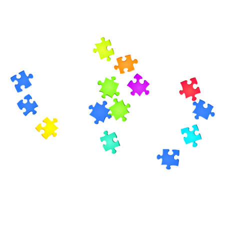 Game brainteaser jigsaw puzzle rainbow colors parts vector illustration. Top view of puzzle pieces isolated on white. Strategy abstract concept. Game and play symbols.