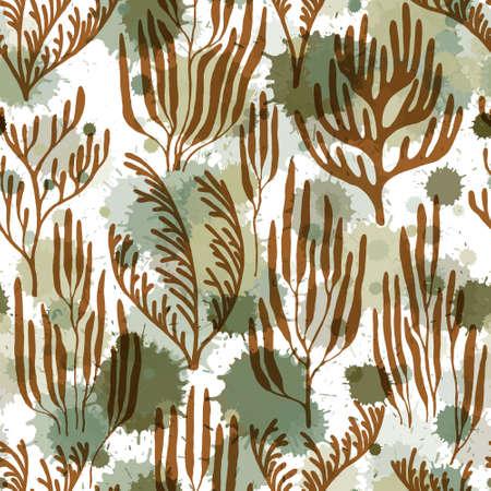 Coral reef seamless pattern. Paint splashes drops watercolor background. Undersea reef flora pattern. Aquarium water plants summer vector design. Tropical coral reef bush silhouette elements.