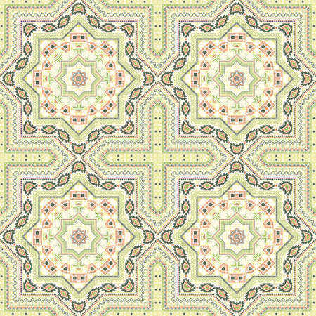 Subtle moroccan zellige tile seamless ornament. Ethnic structure vector patchwork. Bedcover print design. Classic moroccan zellige tilework repeating pattern. Line art graphic background.