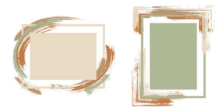 Fashionable frames with paint brush strokes vector collection. Box borders with painted brushstrokes backgrounds. Advertising graphics design empty frame templates for banners, flyers, posters, cards.