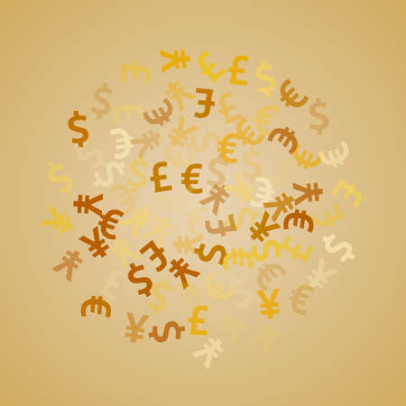 Euro dollar pound yen golden signs flying currency vector illustration. Investment concept. Currency tokens british, japanese, european, american money exchange elements wallpaper.