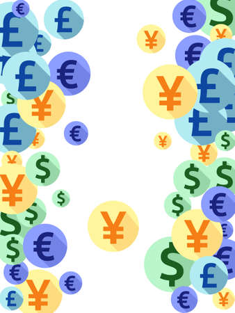 Euro dollar pound yen round signs flying money vector illustration. Success concept. Currency pictograms british, japanese, european, american money exchange elements graphic design.