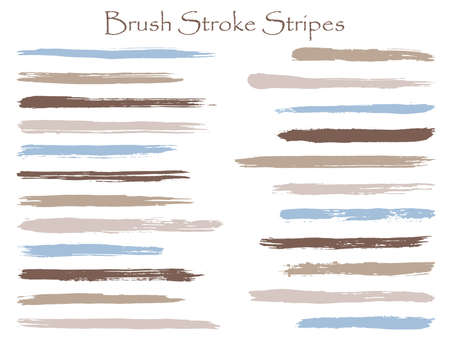 Trendy ink brush stroke stripes vector set, grey blue horizontal marker or paintbrush lines patch. Hand drawn watercolor paint brushes, smudge strokes collection. Interior paint color palette swatches