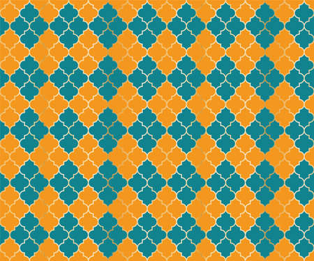 Moroccan Mosque Vector Seamless Pattern. Argyle rhombus muslim fabric background. Traditional mosque pattern with gold grid. Stylish islamic argyle seamless design of lantern lattice shape tiles. 向量圖像