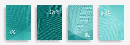 Hexagonal halftone pattern cover pages vector trendy design. Polygonal lines texture backdrops. Party invitation flyer templates set. Cover page layouts, flyers, banners with halfton patterns.
