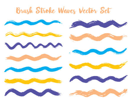 Textured brush stroke waves vector set. Hand drawn blue yellow brushstrokes, ink splashes, watercolor splats, hand painted curls. Vector ink color palette samples. Textured waves, stripes design. 向量圖像