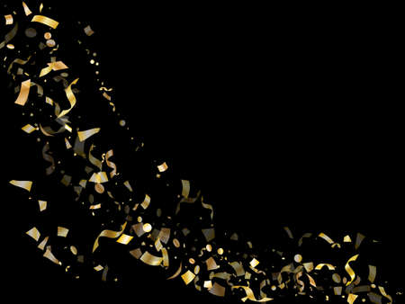 Gold glossy confetti flying on black holiday vector backdrop. Trendy flying sparkle elements, gold foil gradient serpentine streamers confetti falling carnival vector.