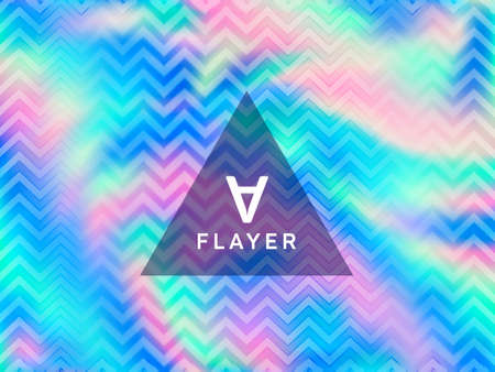 Chrome voucher geometric holographic vector background. Fluid shimmer overlay elements. Surreal abstract geometric template for voucher design.