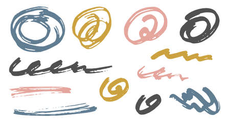 Simple scribble doodle graphic design vector elements.  Cartoon marker traces. Ink brush strokes, round swirls, wavy lines. Scribble scratches, sketch doodle smears. Graffiti freehand drawings.