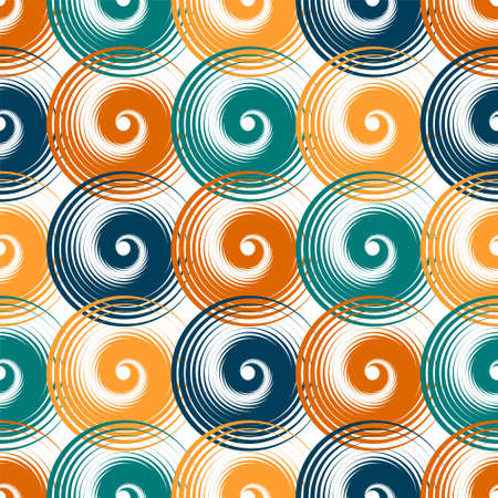 Spiral swirls creative seamless pattern vector design. Round spiral scrolls, circle swirls geometric elements, curly vortex tiles. Cute swirl scrolls abstract background seamless pattern.