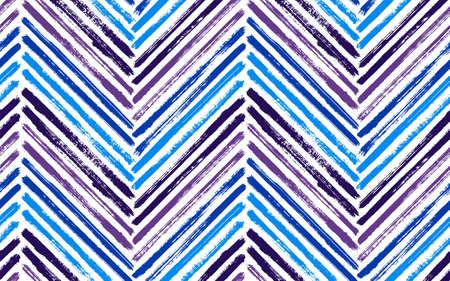 Decorative zig zag fashion print vector seamless pattern. Paintbrush strokes geometric stripes. Hand drawn paint texture zig zag chevron background. Watercolor fabric print seamless design.