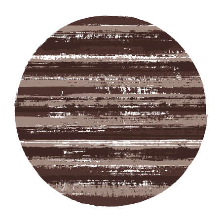 Vintage circle vector geometric shape with striped texture of ink horizontal lines. Old paint texture disk. Label round shape logotype circle with grunge background of stripes.