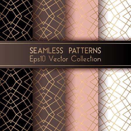 Art deco classic seamless patterns set vector graphic design with rhombus shapes and thin gold lines grid. Luxurious fashion prints. Gold black brown pink white art deco seamless patterns collection.