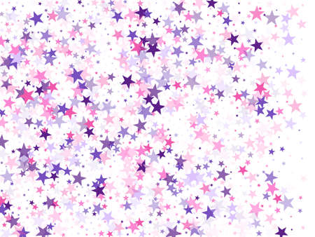 Flying stars confetti holiday vector in pink violet purple on white. Salute celebration elements isolated. Cool flying stars scatter background. New year festive sparkles design.