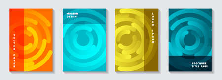 Business catalog title pages collection. Modern banner circles spiral motion vector backgrounds. Aim goal achievement circles concept. Graphic notebook front pages set.