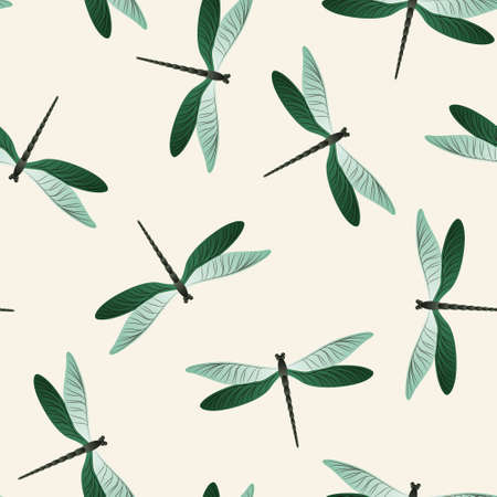 Dragonfly abstract seamless pattern. Repeating dress textile print with damselfly insects. Close up water dragonfly vector illustration. Wildlife creatures seamless. Damselfly bugs.