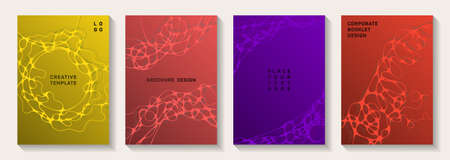 Scientific vector covers with molecular structure or nervous system cells. Linked waves pattern textures. Delicate brochure vector layouts. Pharmaceutical medical covers.