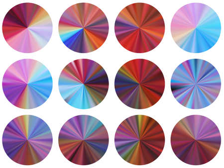 Red blue circular metallic gradient label elements vector collection. Polished modern swatches. Banner metal gradient texture templates. Icon backgrounds material design.
