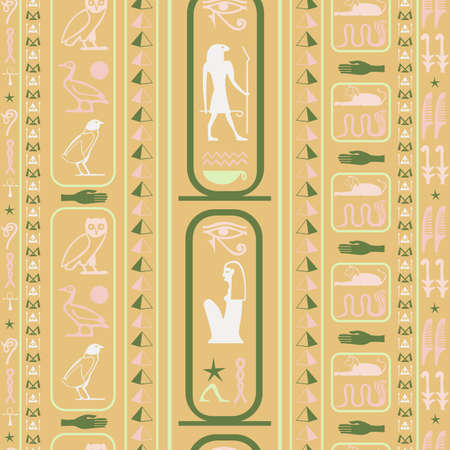 Antique egypt writing seamless pattern. Hieroglyphic egyptian language symbols origami. Repeating ethnical fashion backdrop for brochure or booklet. Ilustrace