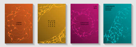 Fashionable music party posters. Complex curve lines motion backdrops. Abstract magazine vector templates. Disco party posters and banners fluid wavy graphic design.